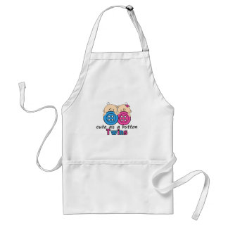 Cute As A Button Twin Girl & Boy Adult Apron