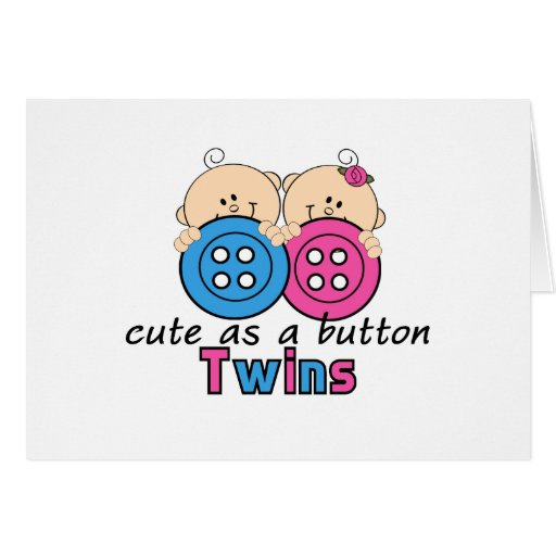 Cute As A Button Twin Girl & Boy Greeting Cards