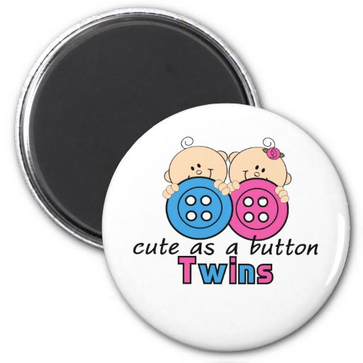 Cute As A Button Twin Girl & Boy Refrigerator Magnets