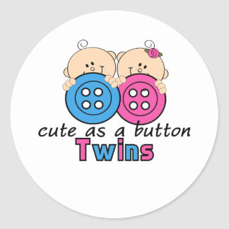 Cute As A Button Twin Girl & Boy Round Stickers