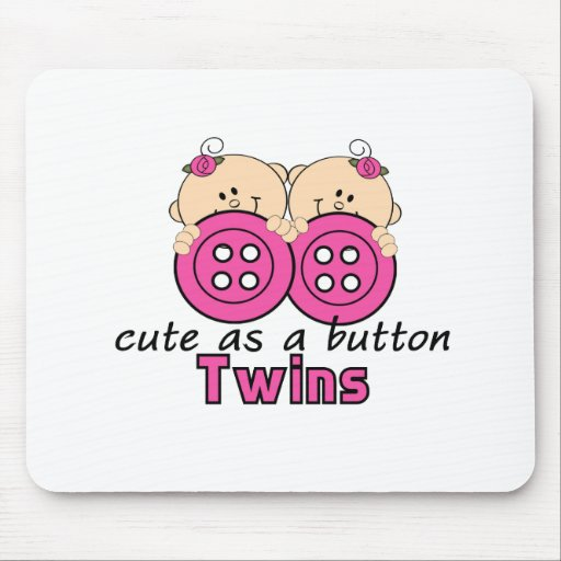 Cute As A Button Twin Girls Mouse Pad