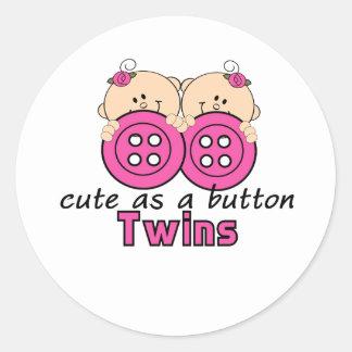 Cute As A Button Twin Girls Sticker