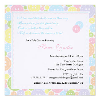 Cute as a Button Twins Baby Shower Invitation
