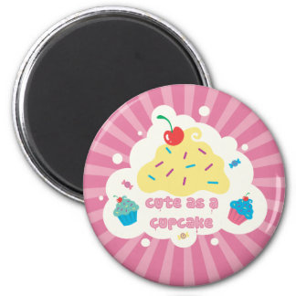 Cute As a Cupcake 6 Cm Round Magnet