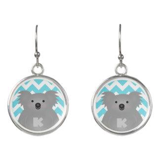 Cute Australia Baby Koala Bear Monogram Earrings