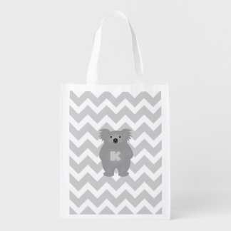 Cute Australia Baby Koala Bear Monogram Reusable Grocery Bag