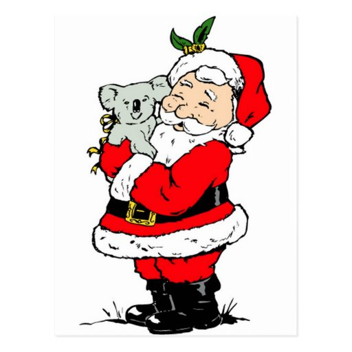 Cute Australian Christmas Santa with koala Postcards