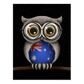 Cute Australian Flag Owl Wearing Glasses Postcard