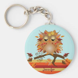Cute Autumn owl and custom Name Key Ring