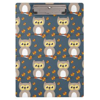 Cute Autumn Owl Pattern Clipboards