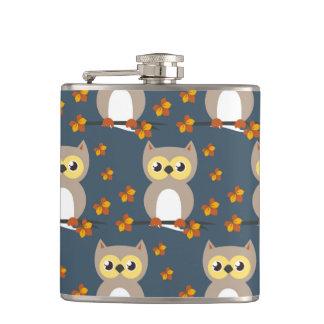 Cute Autumn Owl Pattern Flasks