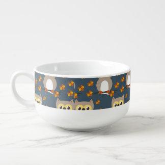 Cute Autumn Owl Pattern Soup Mug