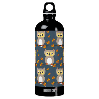 Cute Autumn Owl Pattern Water Bottle