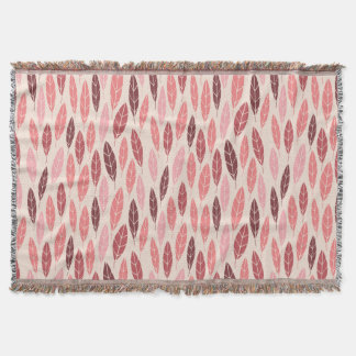 Cute autumn pink and red leaves pattern throw blanket