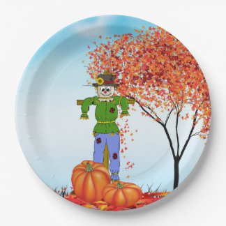 Cute Autumn Scarecrow Paper Plate