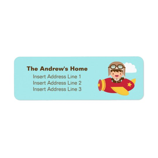 Cute Aviator Boy Aeroplane Adventure For Boys Return Address Label