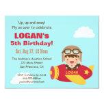 Cute Aviator Boy Aeroplane Birthday Party 11 Cm X 14 Cm Invitation Card