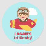 Cute Aviator Boy Aeroplane Birthday Party Round Sticker
