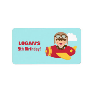 Cute Aviator Boy Airplane Birthday Party Label
