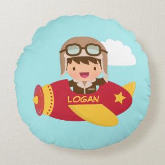 Cute Aviator Boy Airplane Kids Room Decor Round Cushion