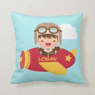 Cute Aviator Boy Airplane Kids Room Decor Throw Pillow