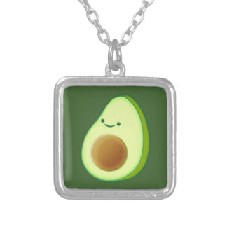 Cute Avocado Drawing Silver Plated Necklace