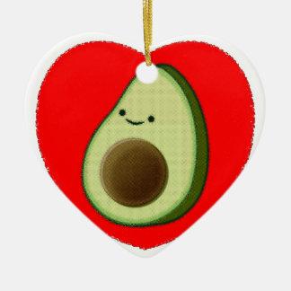 Cute Avocado In Red Heart Ceramic Ornament