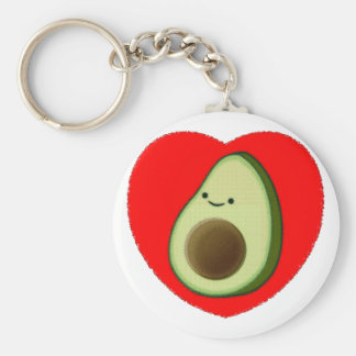 Cute Avocado In Red Heart Key Ring