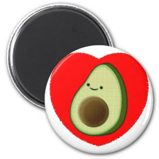 Cute Avocado In Red Heart Magnet