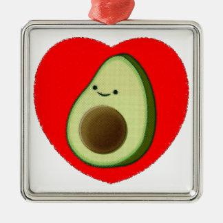 Cute Avocado In Red Heart Metal Ornament