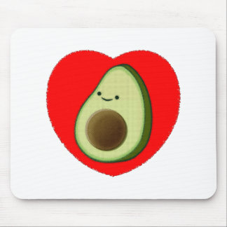 Cute Avocado In Red Heart Mouse Pad