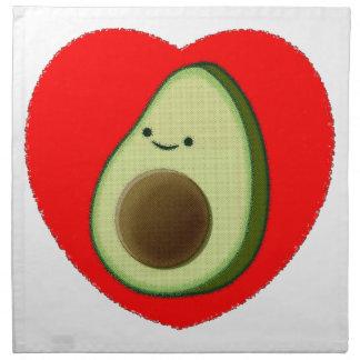 Cute Avocado In Red Heart Napkin