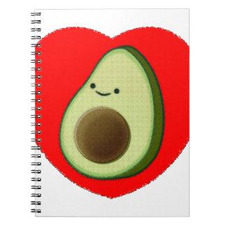 Cute Avocado In Red Heart Notebook