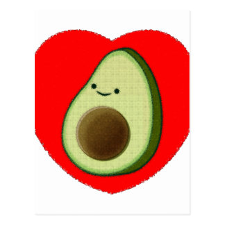 Cute Avocado In Red Heart Postcard