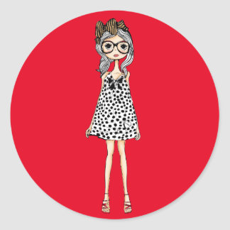 Cute Awkward Girl in Her Polka Dot Dress Classic Round Sticker