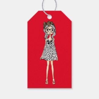 Cute Awkward Girl in Her Polka Dot Dress Gift Tags