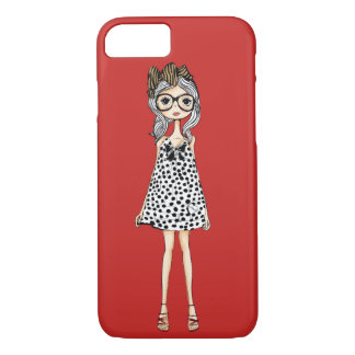 Cute Awkward Girl in Her Polka Dot Dress iPhone 8/7 Case