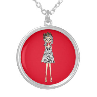 Cute Awkward Girl in Her Polka Dot Dress Silver Plated Necklace