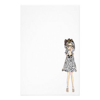 Cute Awkward Girl in Her Polka Dot Dress Stationery