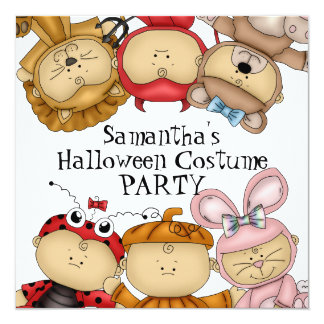 Cute Babies Halloween Costume Party 13 Cm X 13 Cm Square Invitation Card