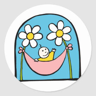 Cute Baby and Daisies Round Stickers