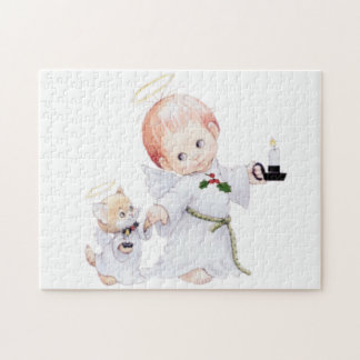 Cute Baby Angel And Cat Jigsaw Puzzle
