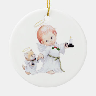 Cute Baby Angel And Cat Round Ceramic Decoration