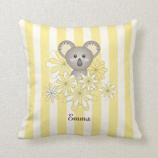 Cute Baby Animal Nursery | Kids Room Name Yellow Cushion