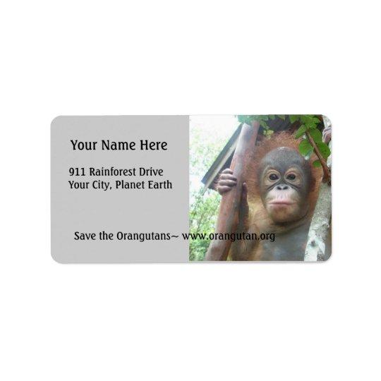 Cute Baby Animals Orangutan Label