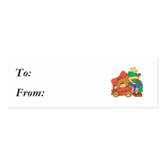 Cute Baby Bear and Christmas Tree Pack Of Skinny Business Cards