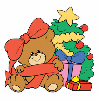 Cute Baby Bear and Christmas Tree Standing Photo Sculpture