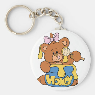 Cute Baby Bear and Honey Basic Round Button Key Ring