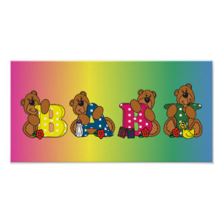 Cute Baby Bear Words Poster