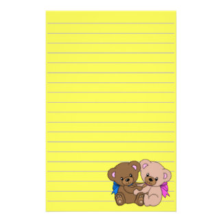 Cute Baby Bears Graphic, Lined Personalized Stationery